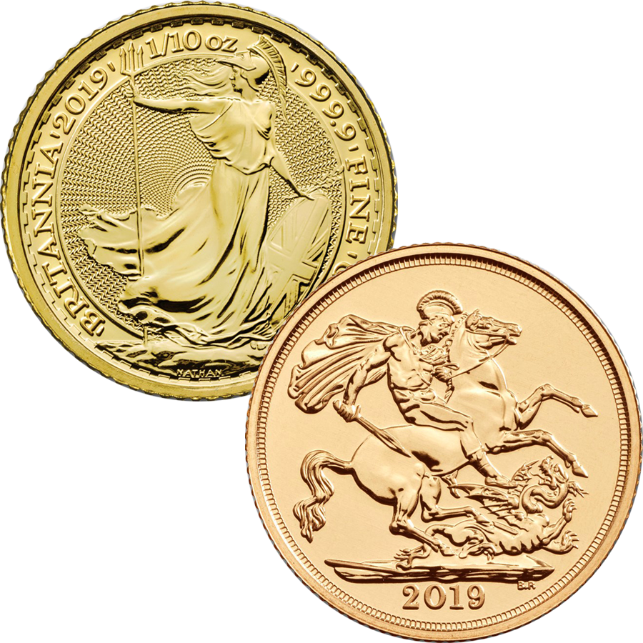2019 UK Full Sovereign & Britannia 1/10oz Gold Coin Collection