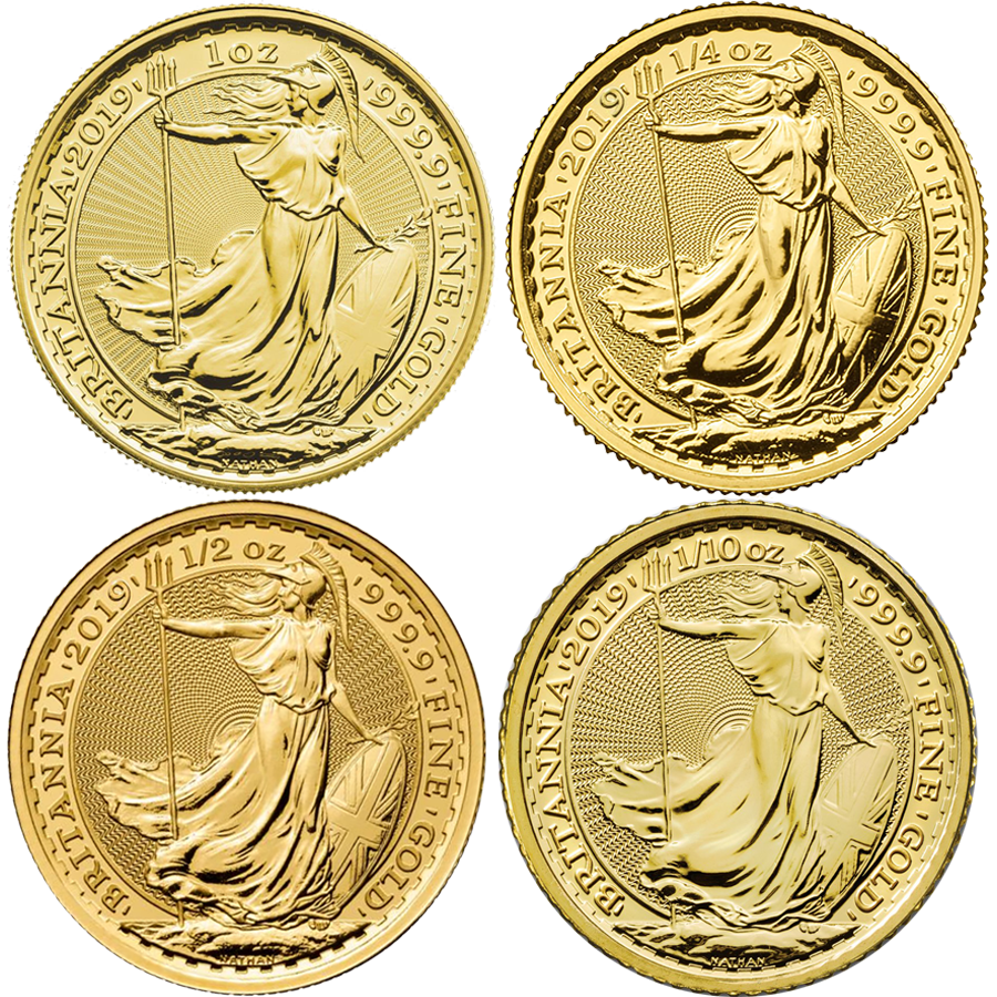 2019 UK Britannia 1oz, 1/2oz, 1/4oz & 1/10oz Gold Coin Collection
