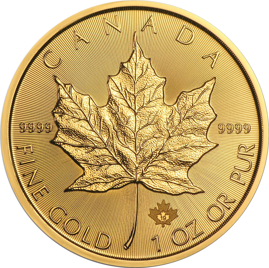 2019 Canadian Maple 1oz Gold Coins - Full Tube of 10 Coins (Image 2)