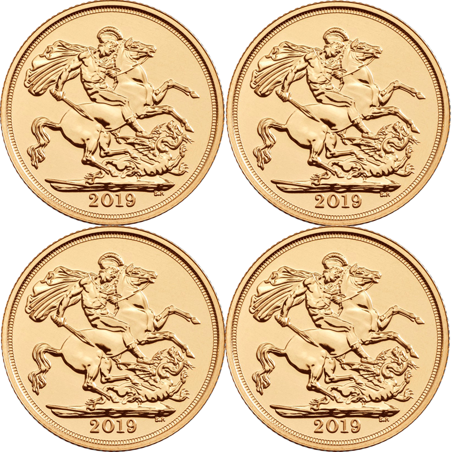 2019 UK Full Sovereign Gold 4 Coin Bullion Bundle