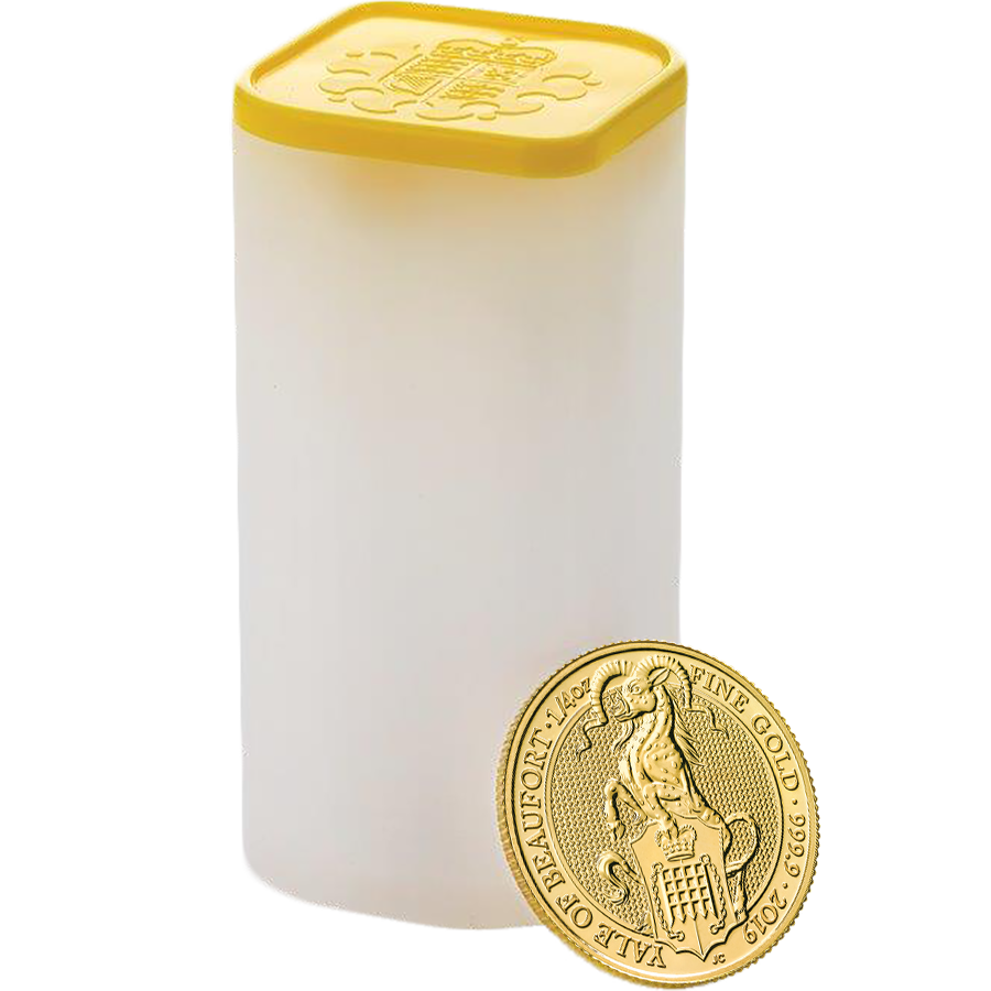 2019 UK Queen's Beasts The Yale of Beaufort 1/4oz Gold Coin - Full Tube of 25 Coins