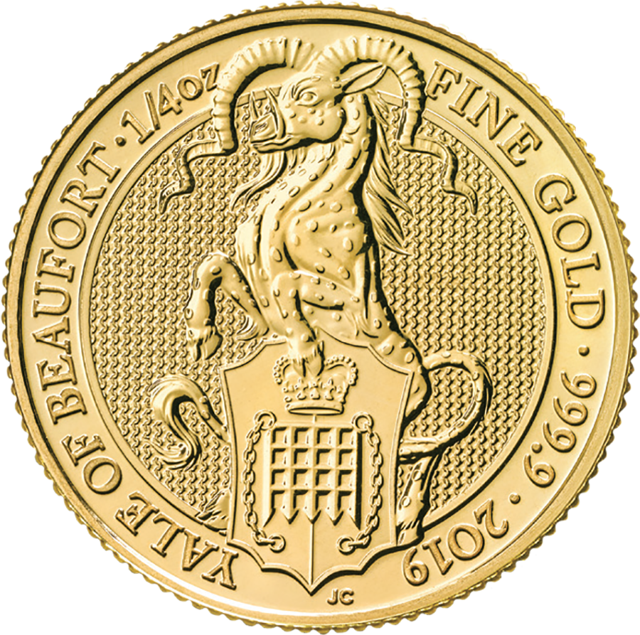 2019 UK Queen's Beasts The Yale of Beaufort 1/4oz Gold Coin - Full Tube of 25 Coins (Image 2)