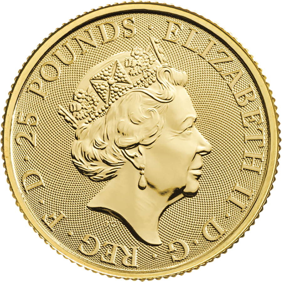 2019 UK Queen's Beasts The Yale of Beaufort 1/4oz Gold Coin - Full Tube of 25 Coins (Image 3)