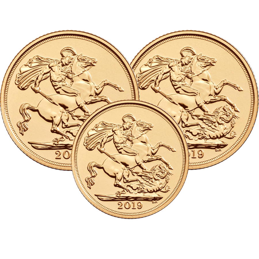 2019 UK 2 x Full Sovereign & 1 x Half Sovereign Gold Coin Collection