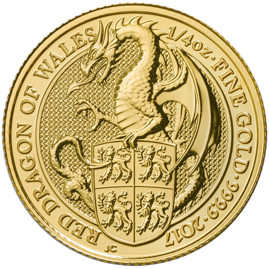 2017 UK Queen's Beasts The Dragon 1/4oz Gold Coin