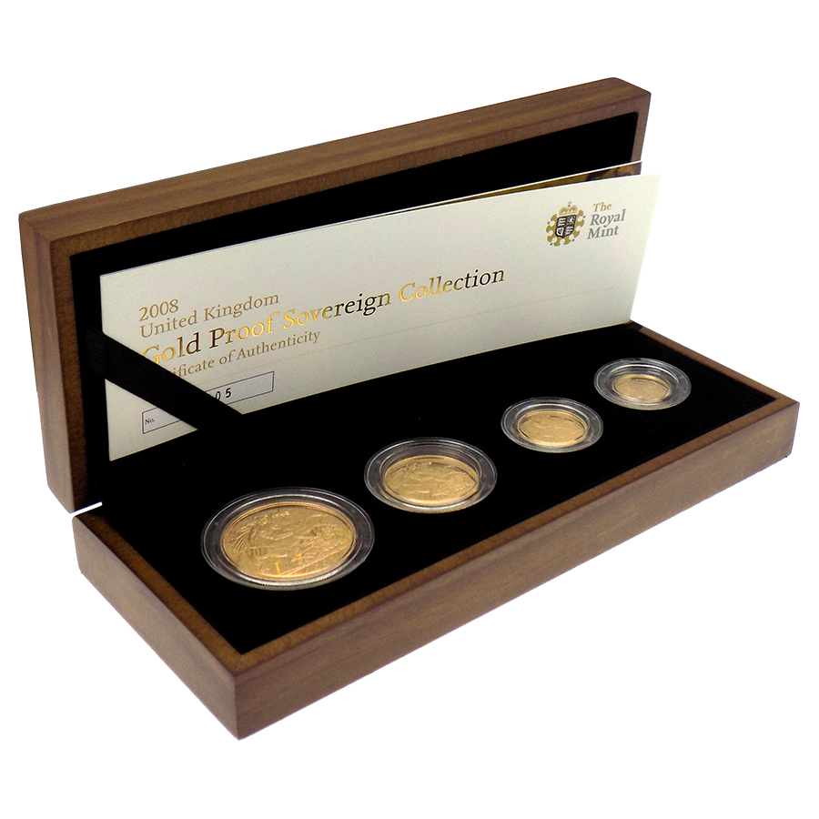 Pre-Owned 2008 UK Proof Gold Sovereign 4 Coin Set