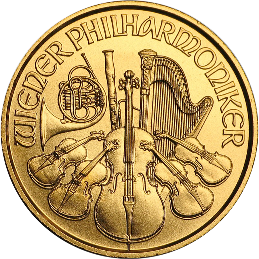 Pre-Owned Austrian Philharmonic 1/25oz Gold Coin - Mixed Dates