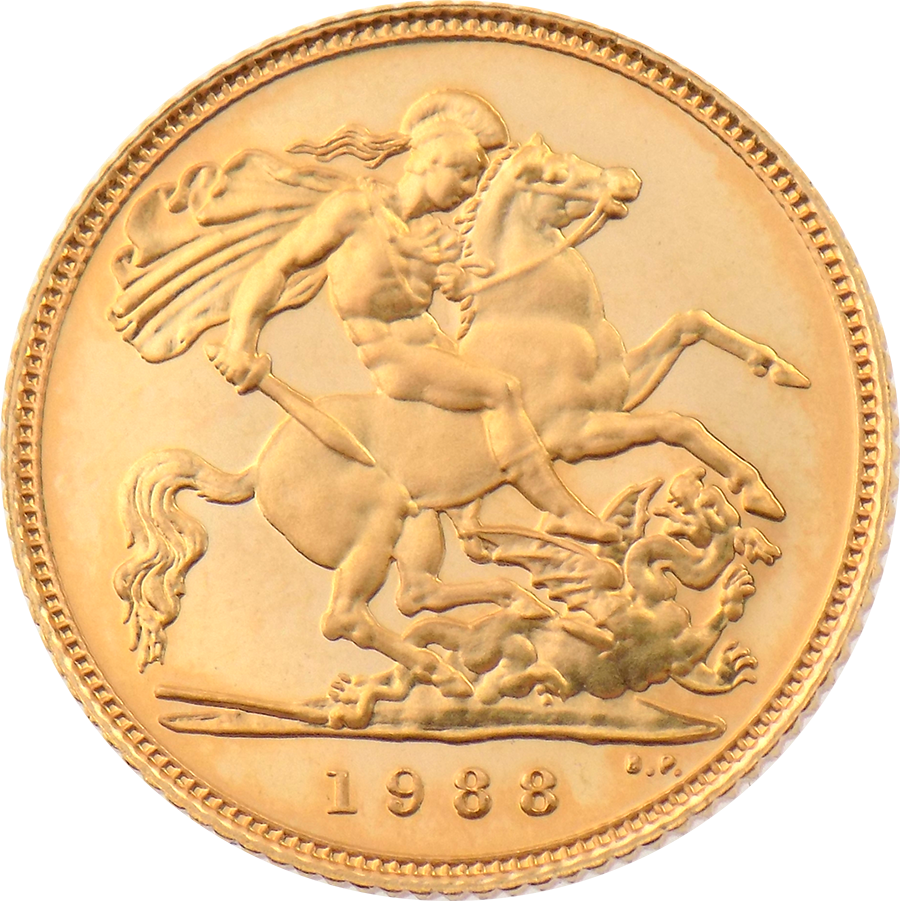 Pre-Owned 1988 UK Proof Design Half Sovereign Gold Coin