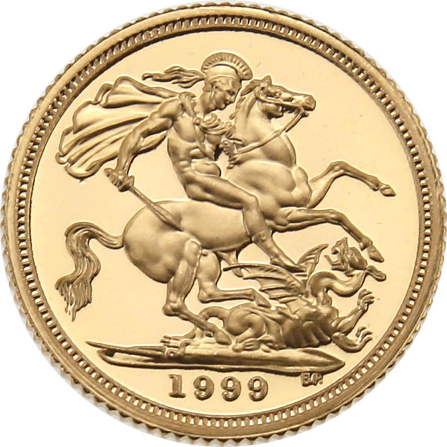 Pre-Owned 1999 UK Proof Design Half Sovereign Gold Coin