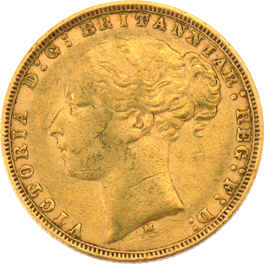 Pre-Owned 1877 Melbourne Mint Victoria Young Head Full Sovereign Gold Coin