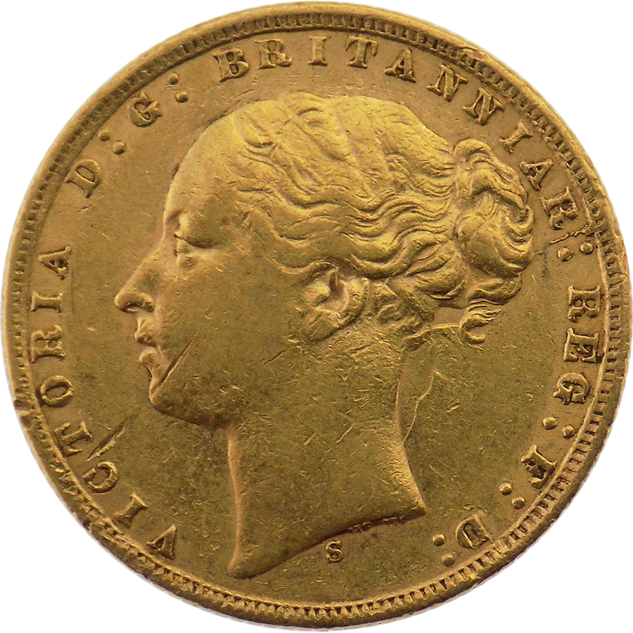 Pre-Owned 1872 Sydney Mint Victoria Young Head Full Sovereign Gold Coin