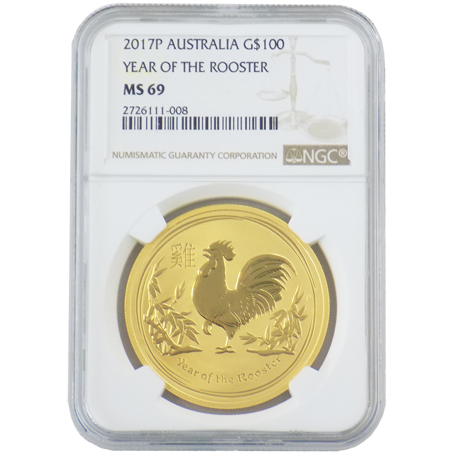 2017 Australian Lunar Rooster 1oz Gold Coin NGC Graded MS 69 - 2726111-008