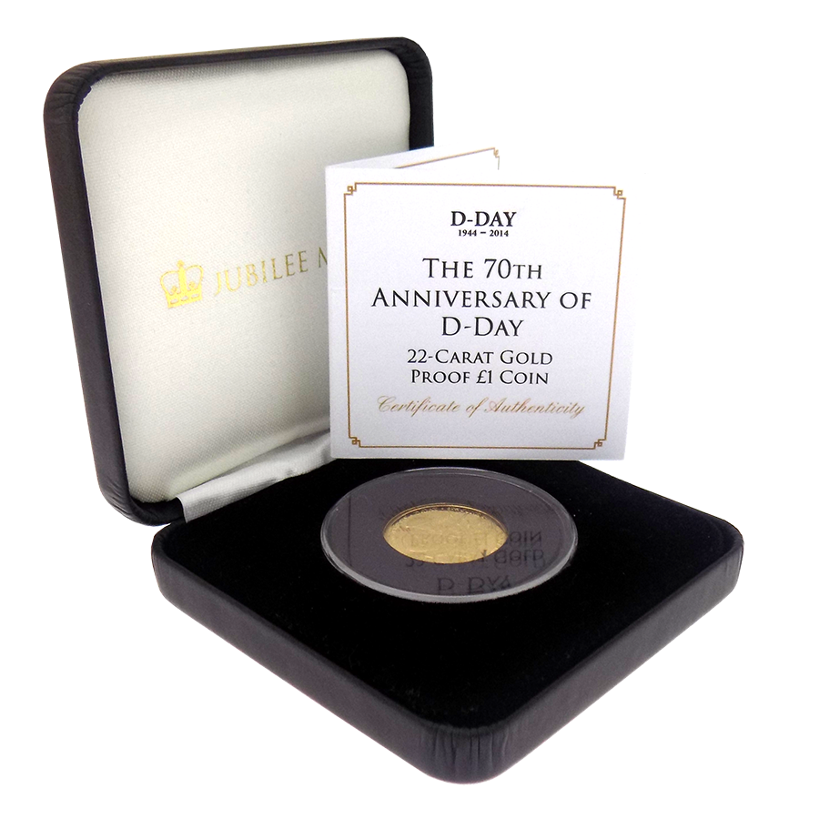 Pre-Owned 1944 - 2014 Tristan da Cunha 70th Anniversary of D-Day Proof £1 Gold Coin