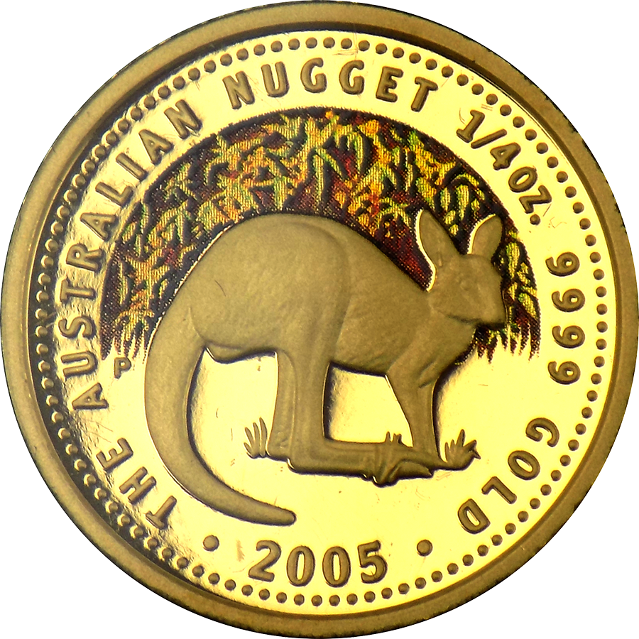 Pre-Owned 2005 Australian Kangaroo 1/4oz Colourized Gold Coin