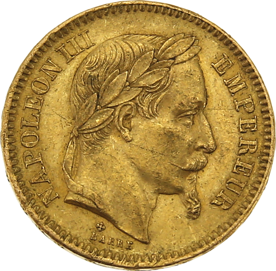 Pre-Owned 1863 French Napoleon III 20 Franc Gold Coin