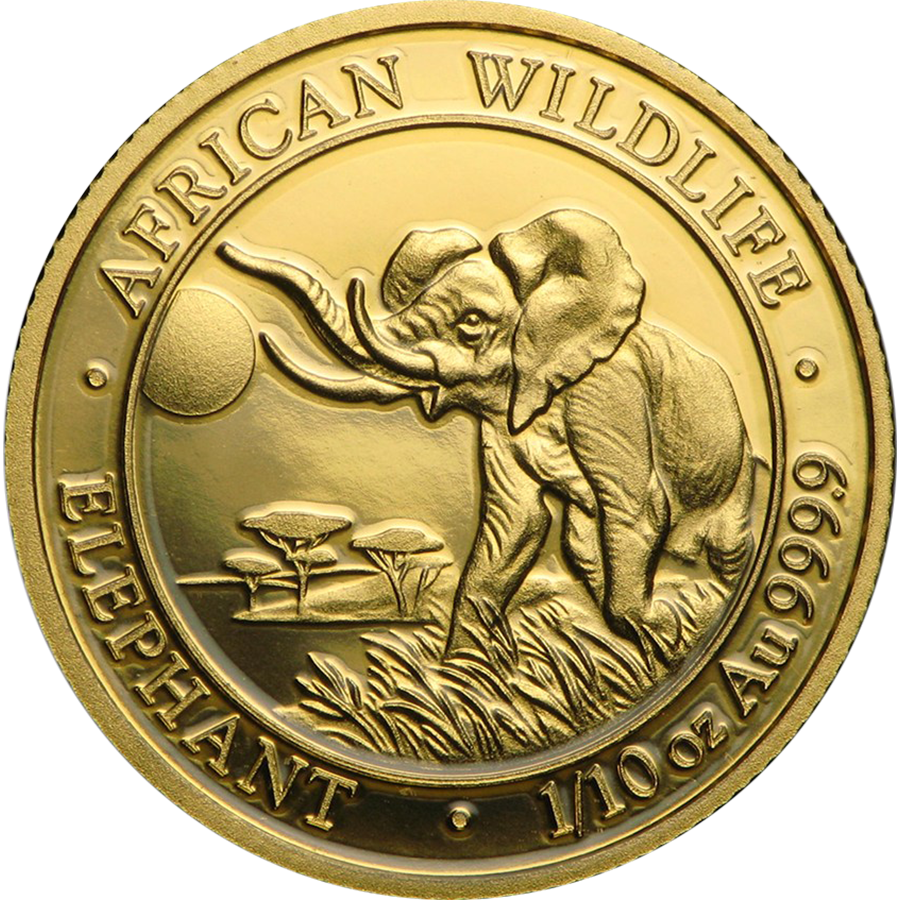 Pre-Owned 2016 Somalian Elephant 1/10oz Gold Coin