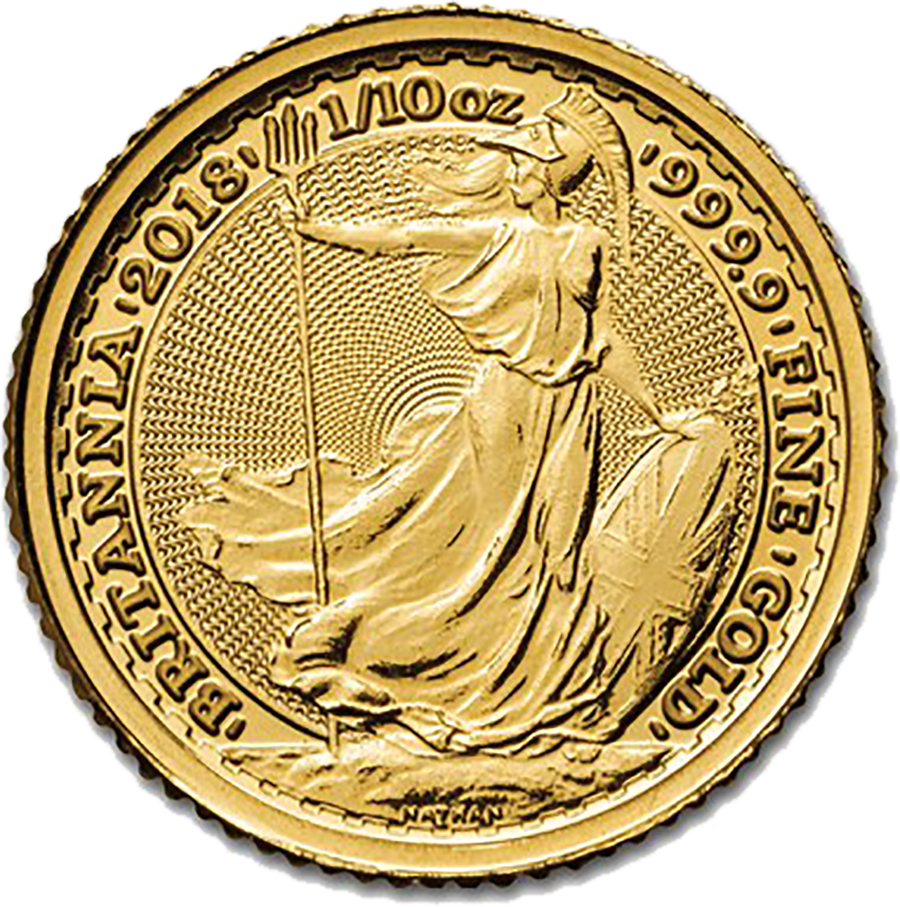 2018 UK Britannia 1/10oz Gold Coin