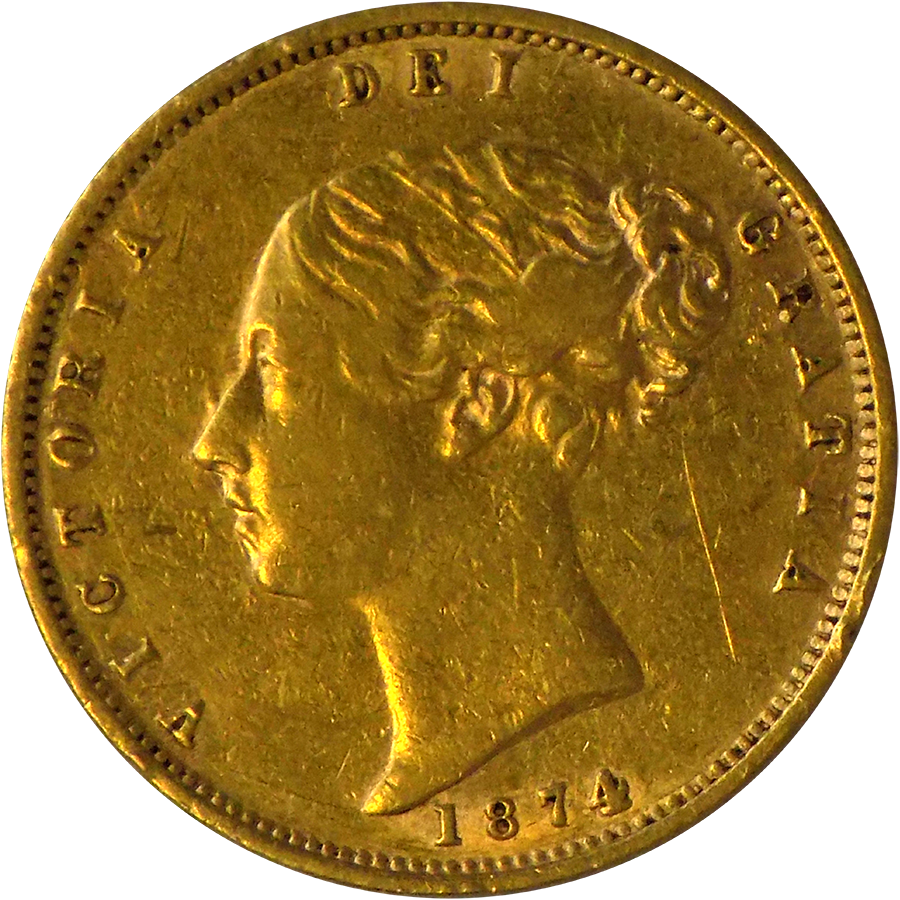 """Pre-Owned 1874 UK DN.28 Victorian """"Shield"""" Half Sovereign Gold Coin"""