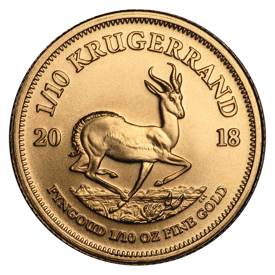 2018 South African Krugerrand 1/10oz Gold Coin