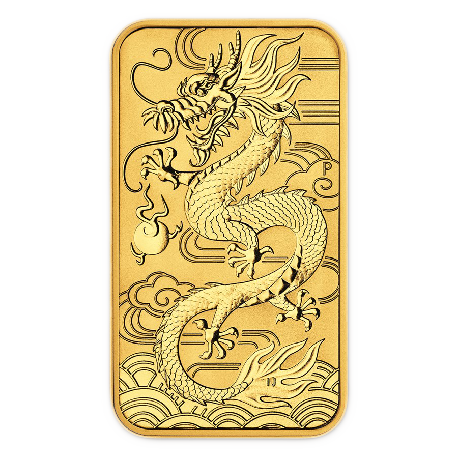 2018 Australian Dragon Rectangular 1oz Gold Coin