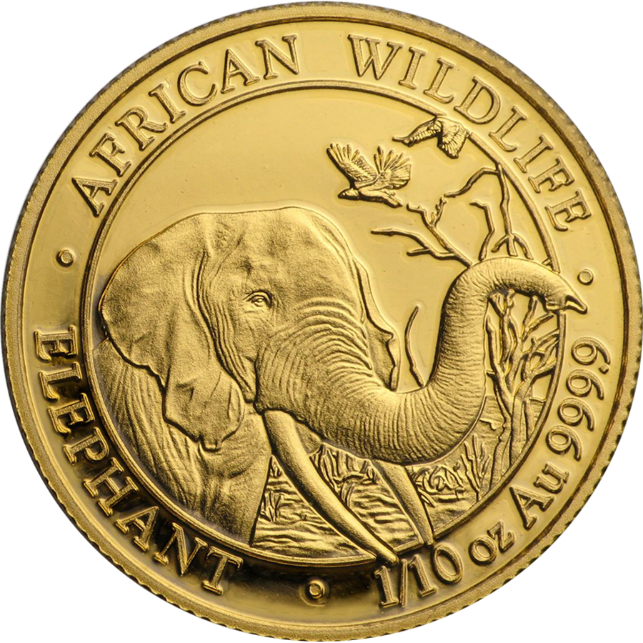 Pre-Owned 2018 Somalian Elephant 1/10oz Gold Coin