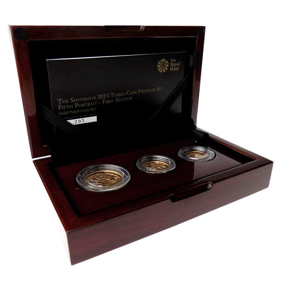 Pre-Owned 2015 UK Fifth Portrait First Edition Sovereign Gold Proof 3-Coin Premium Set
