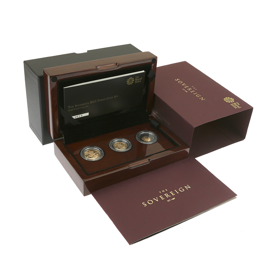 Pre-Owned 2015 UK Sovereign Gold Proof 3-Coin Set
