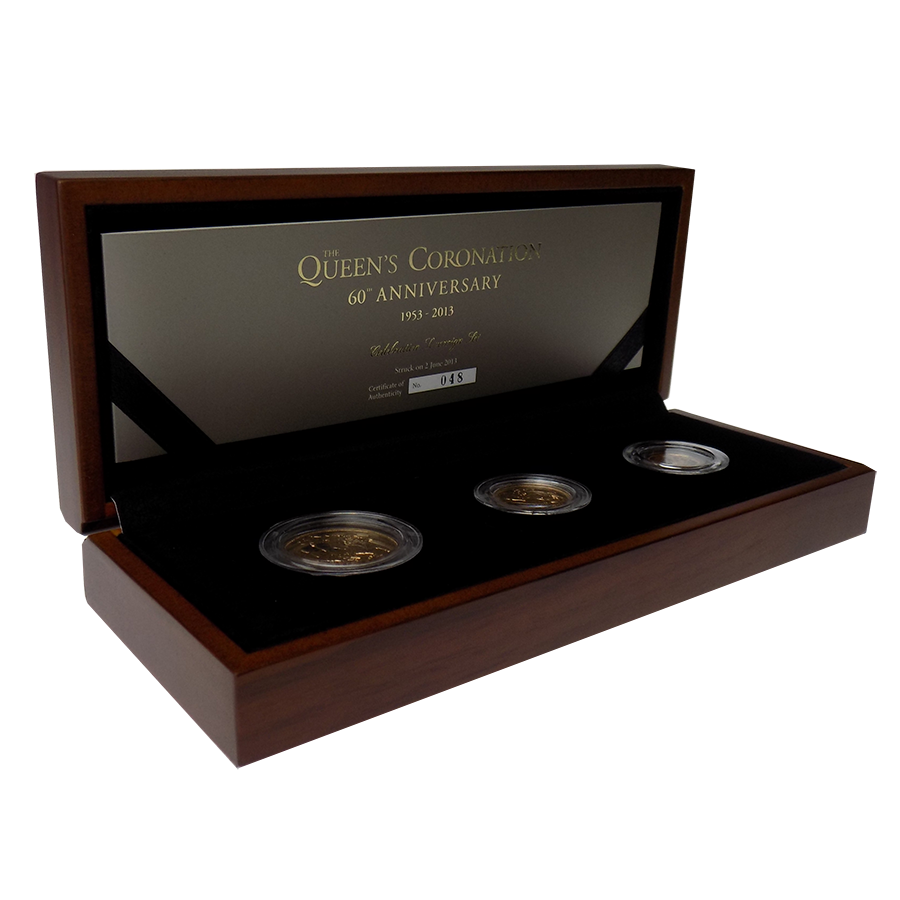 Pre-Owned 2013 UK 60th Anniversary Of The Queens Coronation Sovereign BU 3-Coin Set