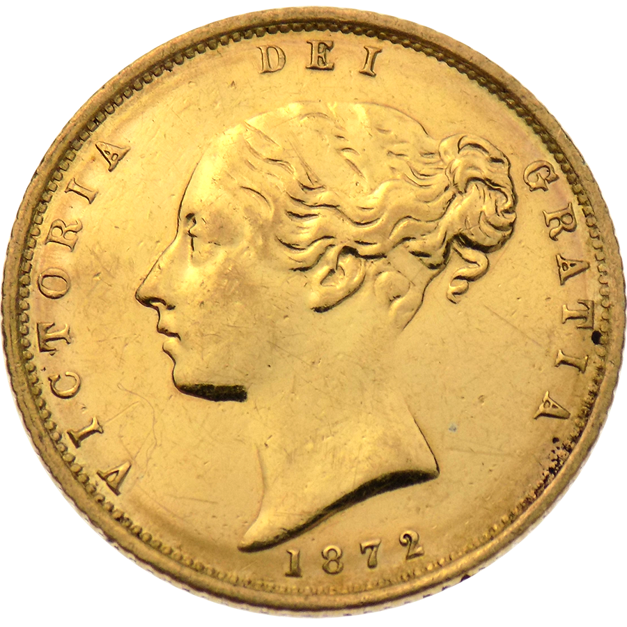 """Pre-Owned 1872 UK DN.39 Victorian """"Shield"""" Half Sovereign Gold Coin"""