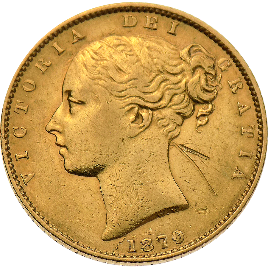 """Pre-Owned 1870 London Mint Victorian """"Shield"""" DN 120 Full Sovereign Gold Coin"""