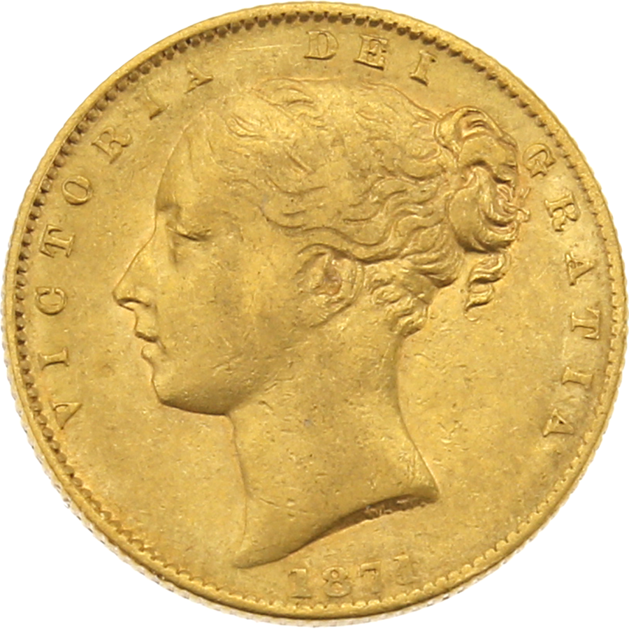 """Pre-Owned 1871 Sydney Mint Victorian """"Shield""""  Full Sovereign Gold Coin"""
