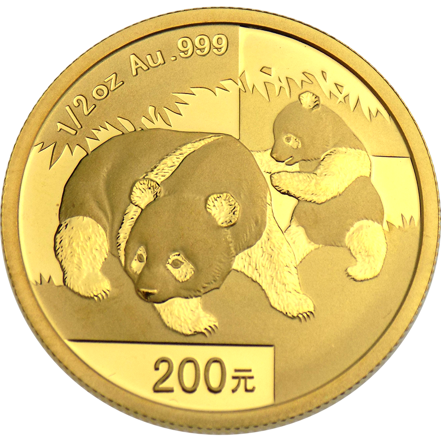 Pre-Owned 2008 Chinese Panda 1/2oz Gold Coin