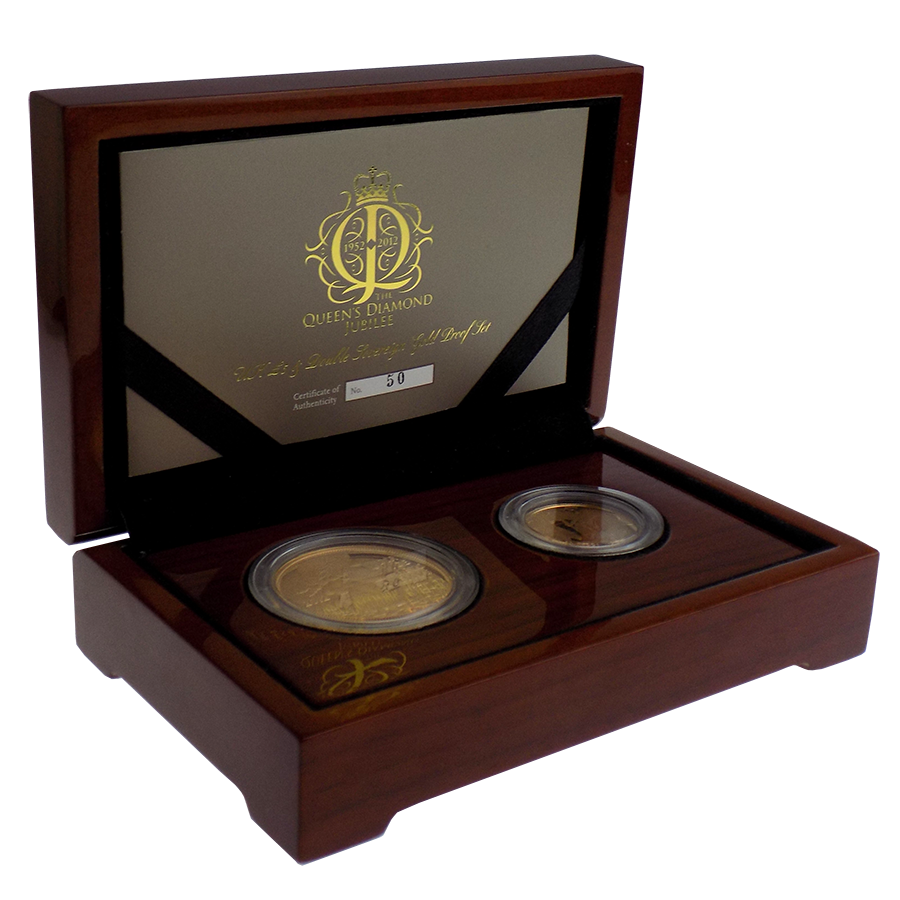 Pre-Owned 2012 UK Queen's Diamond Jubilee £5 and Double Sovereign Proof Set