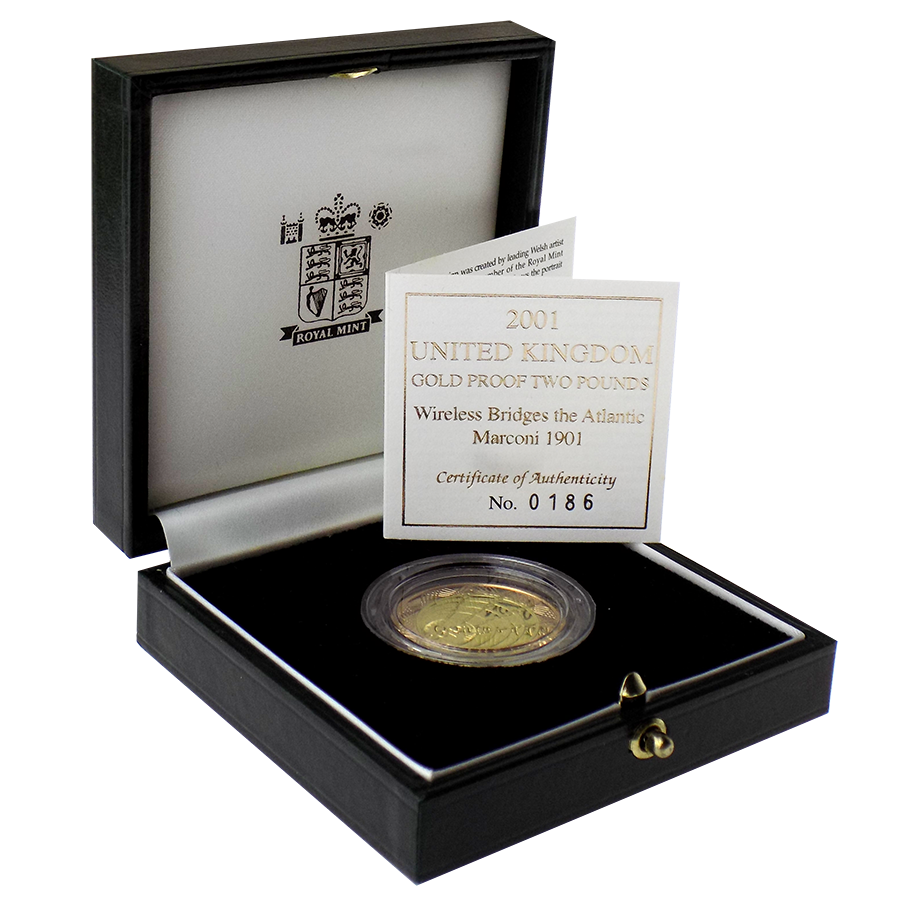Pre-Owned 2001 UK Wireless Bridges the Atlantic Marconi £2 Gold Proof Coin