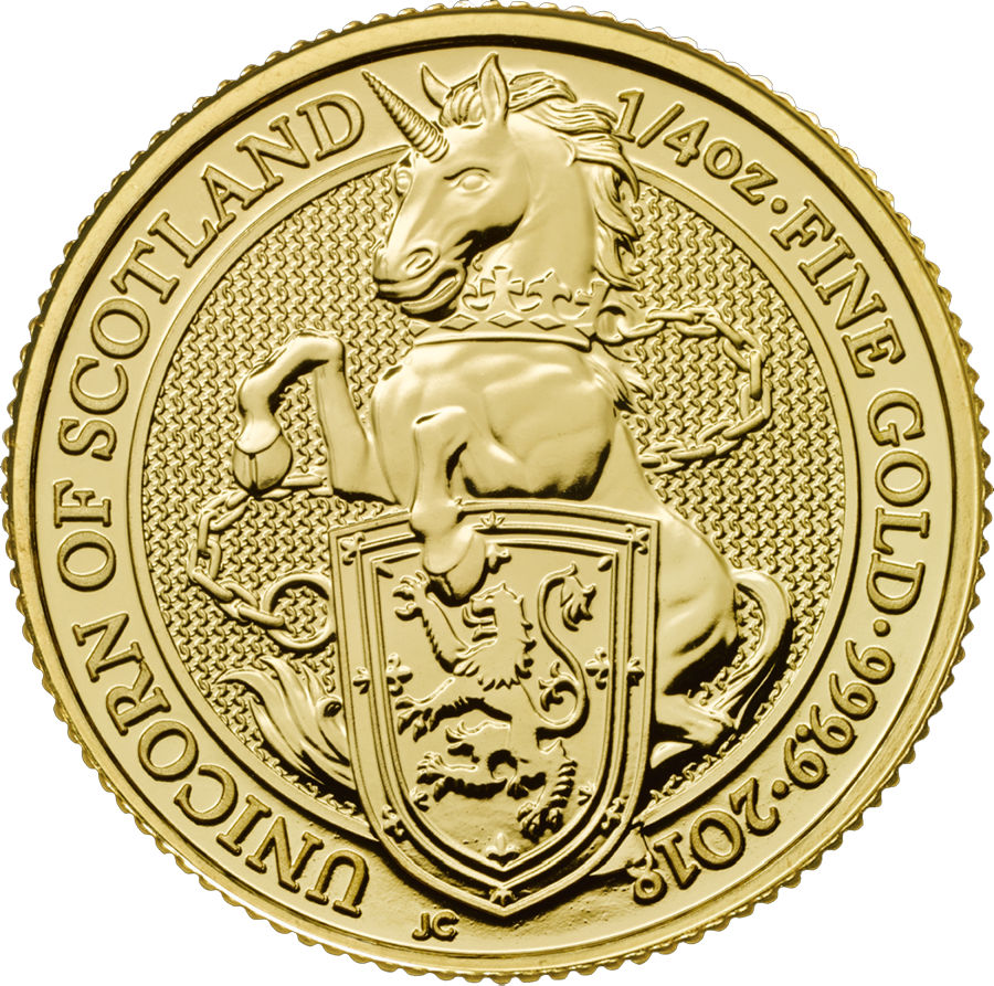 Pre-Owned 2018 UK Queen's Beasts The Unicorn Of Scotland 1/4oz Gold Coin