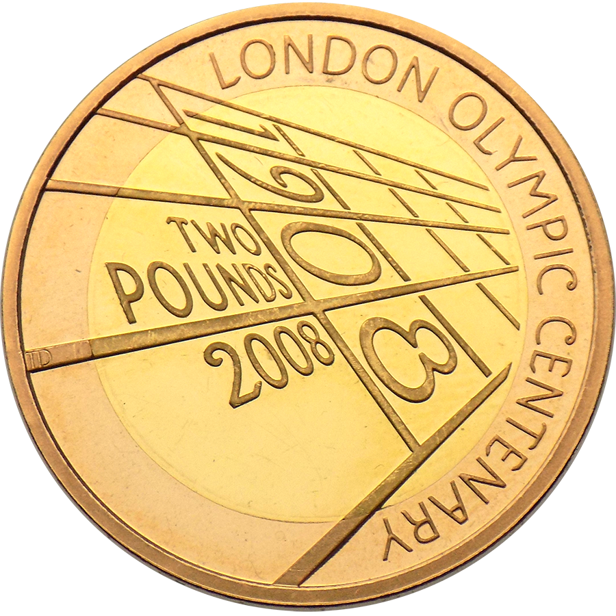 Pre-Owned 2008 UK London Olympic Centenary £2 Proof Design Gold Coin