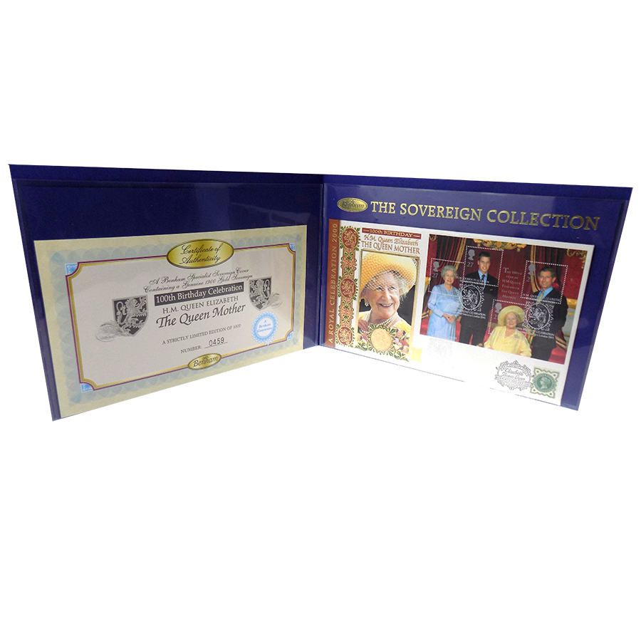 Pre Owned 1900 UK Full Sovereign Gold Coin With Queen Mother 100th Birthday Presentation Card
