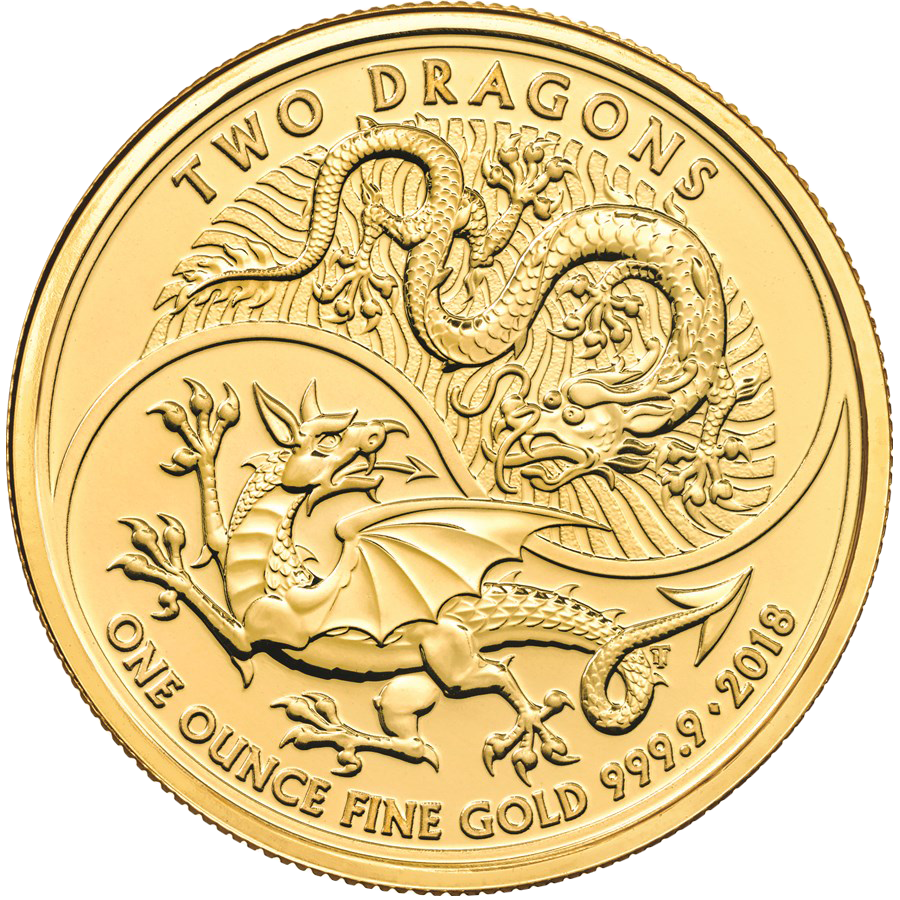 2018 UK Two Dragon 1oz Gold Coin