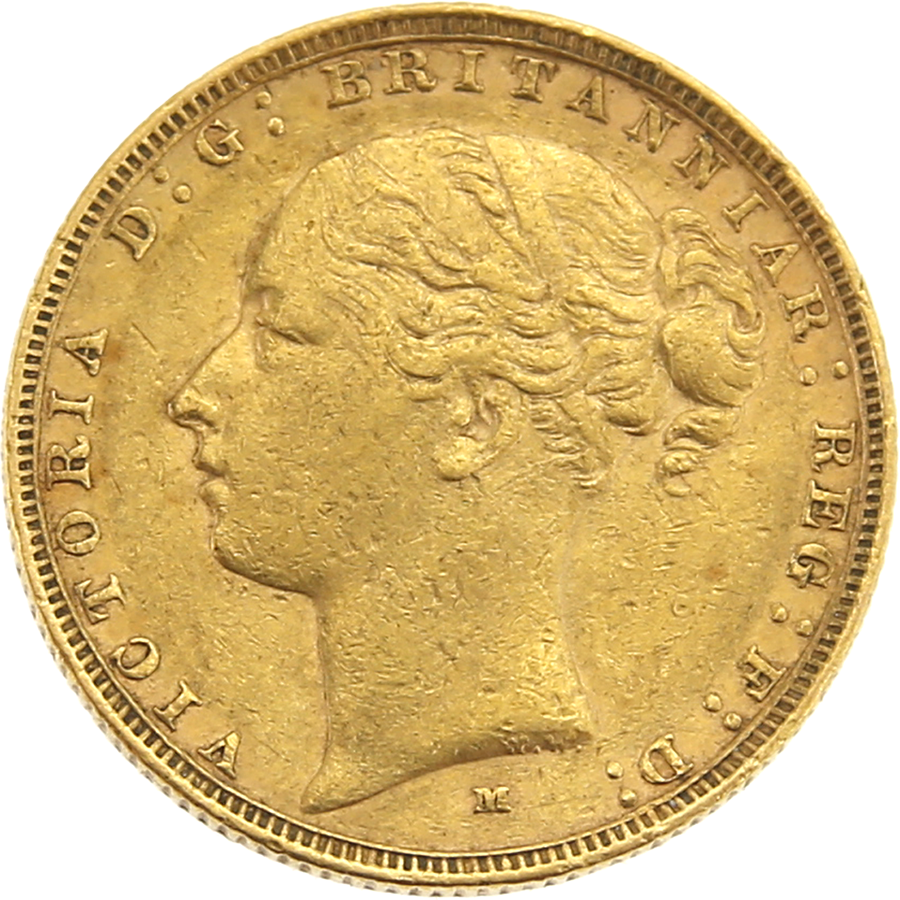 Pre-Owned 1884 Melbourne Mint Victoria Young Head Full Sovereign Gold Coin (Image 1)