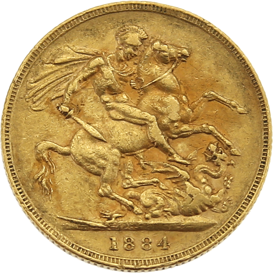 Pre-Owned 1884 Melbourne Mint Victoria Young Head Full Sovereign Gold Coin (Image 2)
