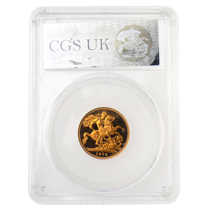Pre-Owned 1979 UK Full Sovereign Proof Gold Coin - CGS Graded UNC 96