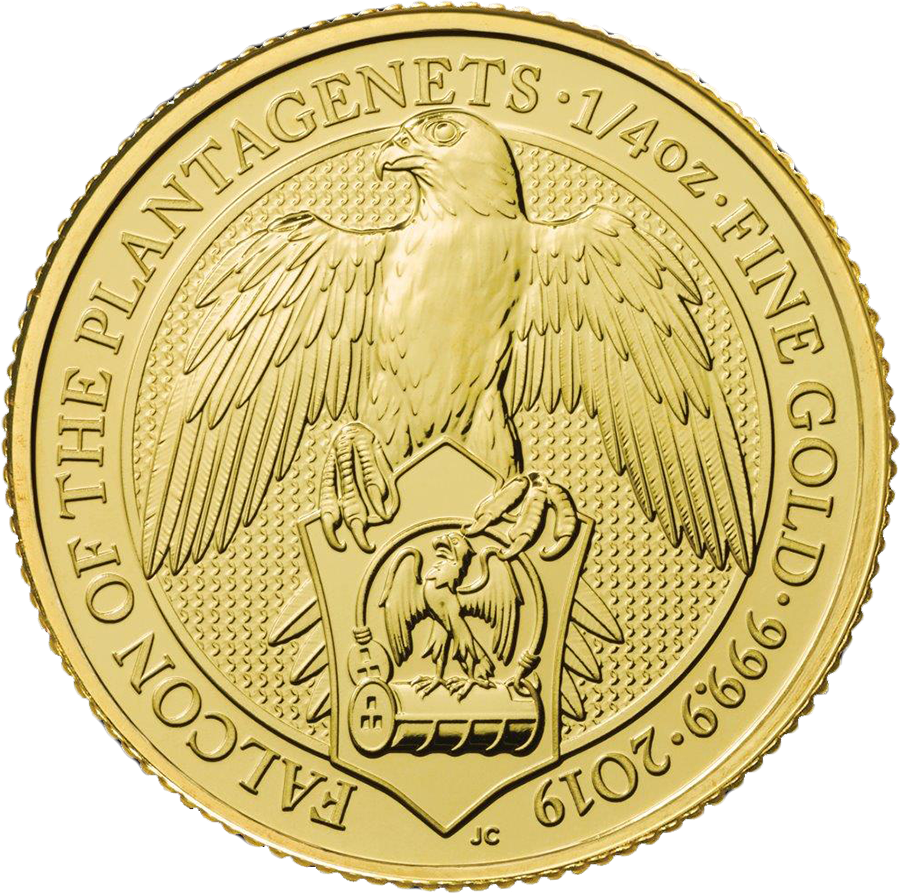2019 UK Queen's Beasts The Falcon of the Plantagenets 1/4oz Gold Coin