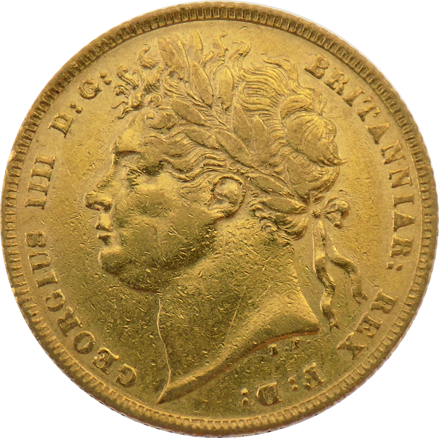 Pre-Owned 1821 George IV Laureate Head Full Sovereign