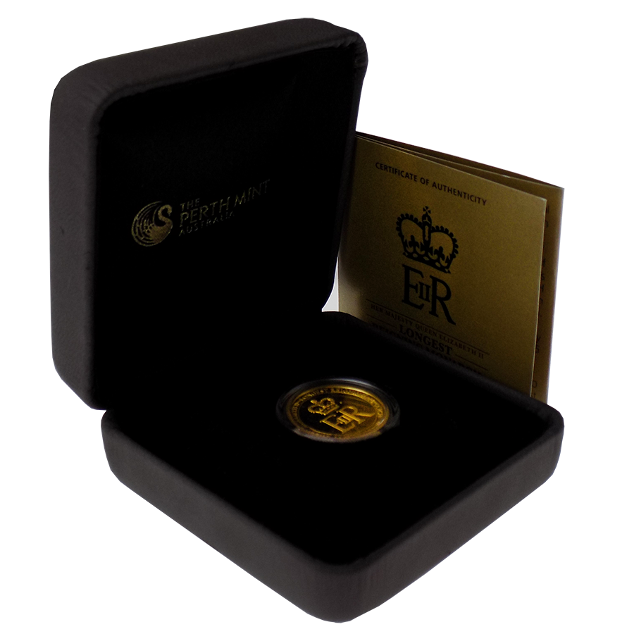 Pre-Owned 2015 Australian Longest Reigning Monarch 1/4oz Gold Proof Coin