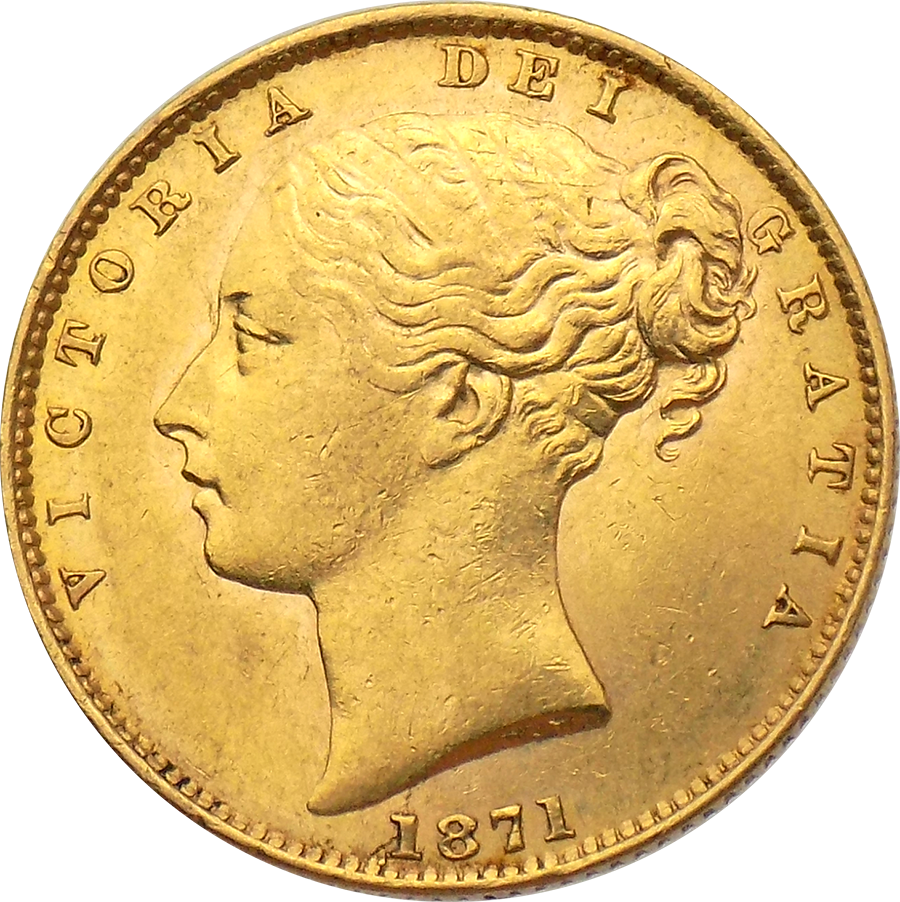 "Pre-Owned 1871 London Mint DN.9 Victoria Young Head ""Shield"" Full Sovereign Gold Coin"