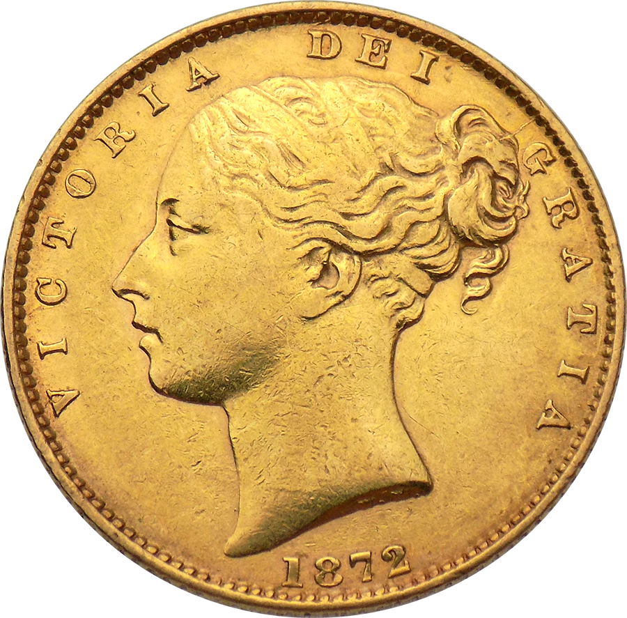 "Pre-Owned 1872 London Mint DN.6 Victoria Young Head ""Shield"" Full Sovereign Gold Coin"