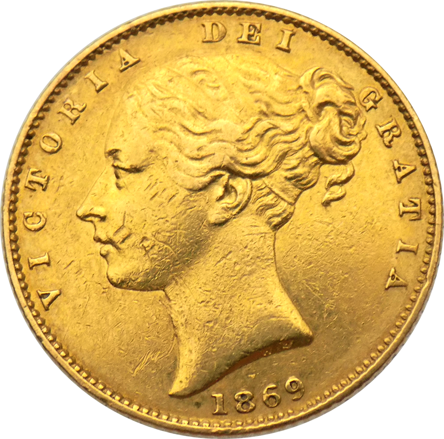 "Pre-Owned 1869 London Mint DN.35 Victoria Young Head ""Shield"" Full Sovereign Gold Coin"