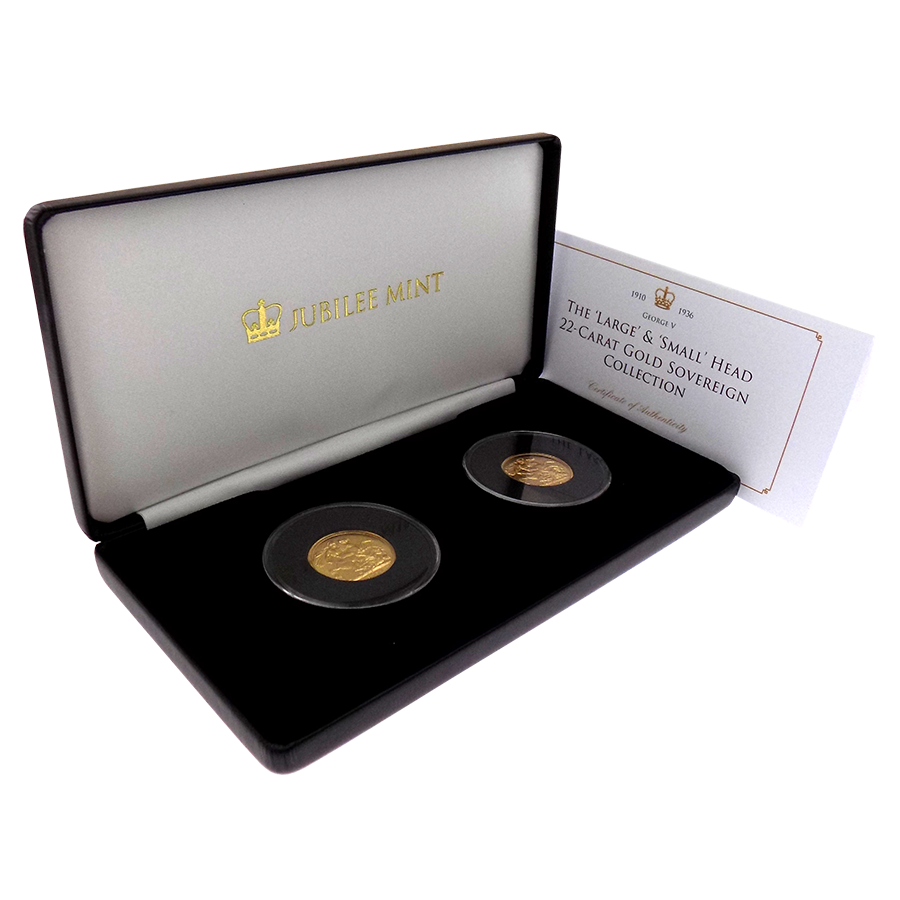 Pre-Owned UK George V Large & Small Head Full Sovereign Gold 2-Coin Set