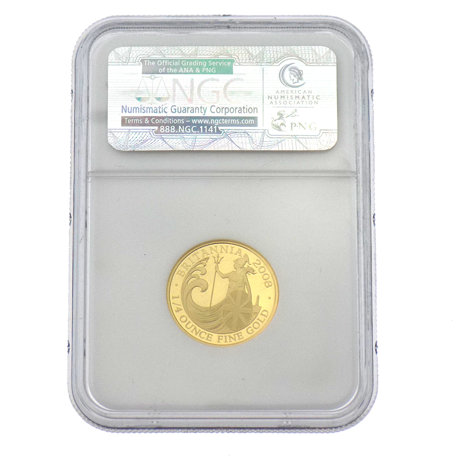 Pre-Owned 2008 UK Britannia 1/4oz Gold Coin NGC Graded PF69 - 3205320-094