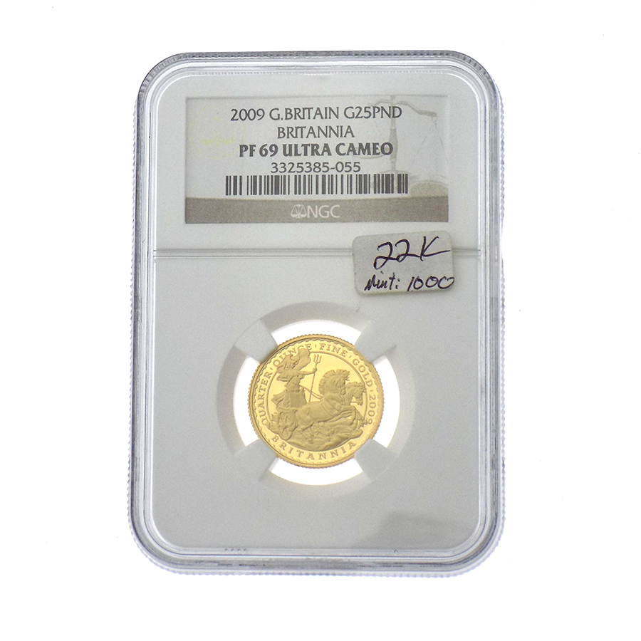 Pre-Owned 2009 UK Britannia 1/4oz Gold Coin NGC Graded PF69 - 3325385-055